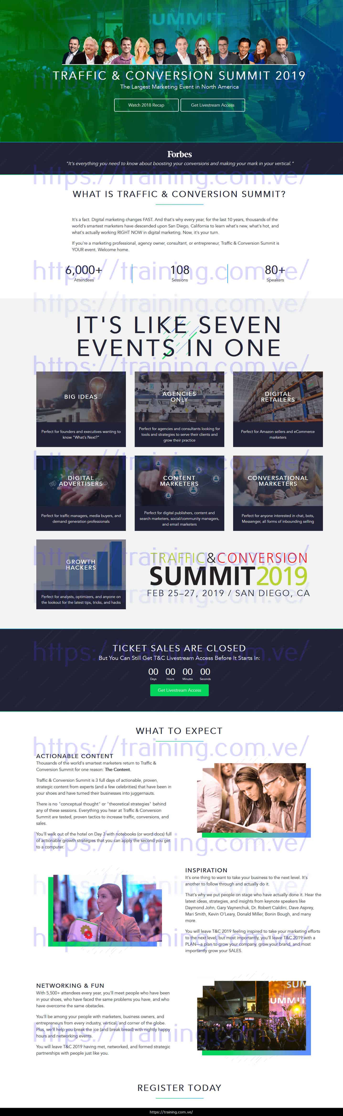 Traffic & Conversion Summit 2019 Recordings + Notes sales page