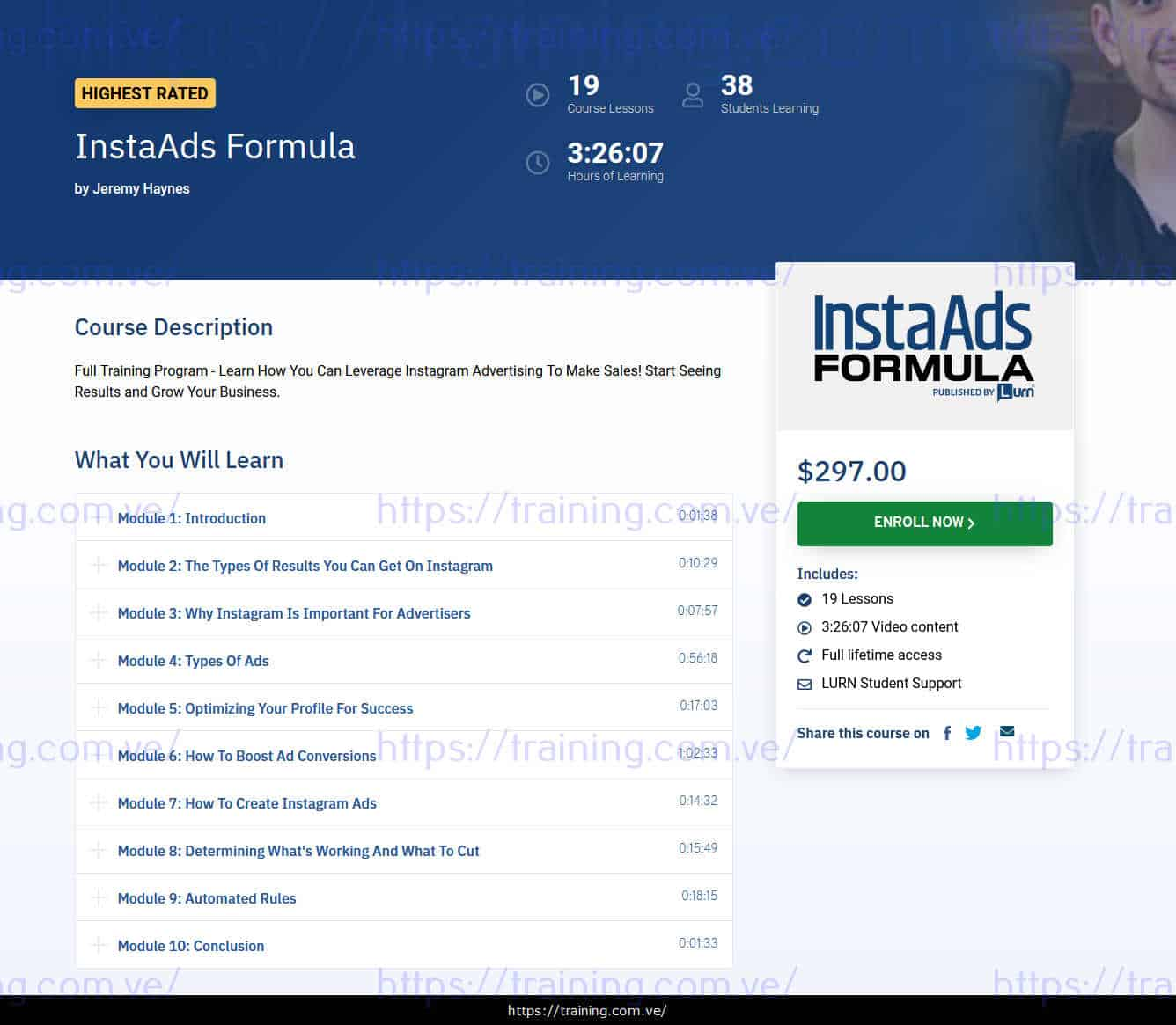 InstaAds Formula by Jeremy Haynes sales page