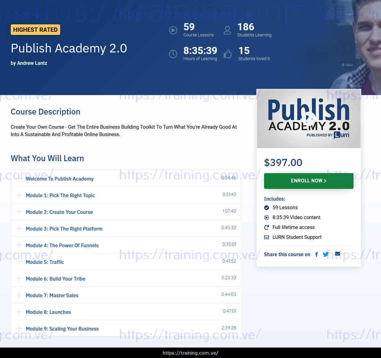 Publish Academy 2.0 by Andrew Lantz sales page