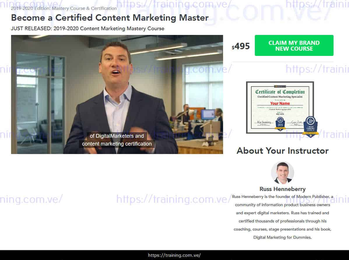 Content Marketing Mastery 2019 Edition sales page
