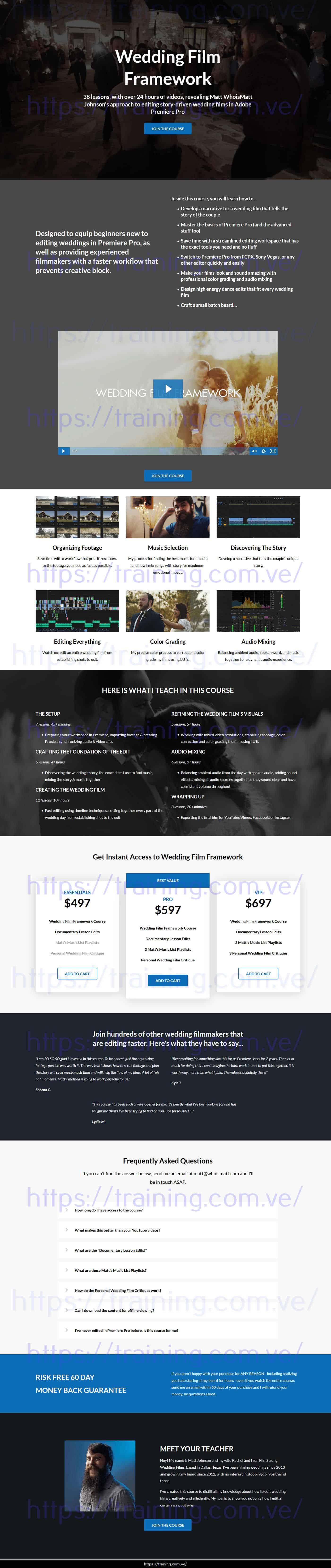 Wedding Film Framework by Matt Johnson sales page
