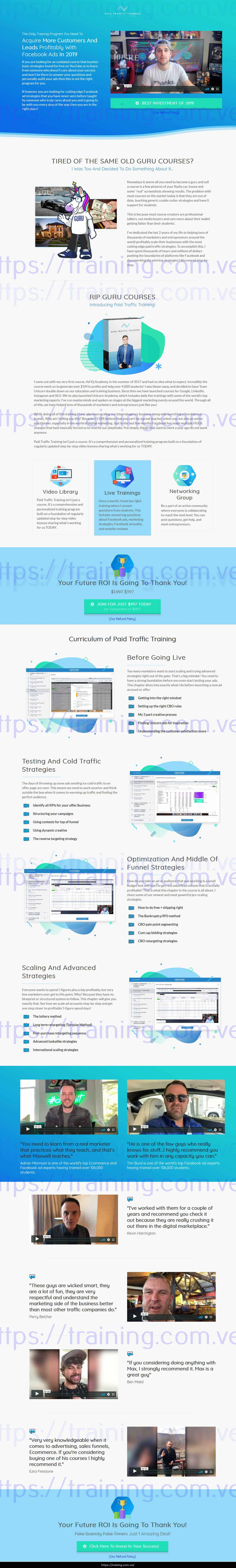 Paid Traffic 2.0 Training by Maxwell Finn sales page