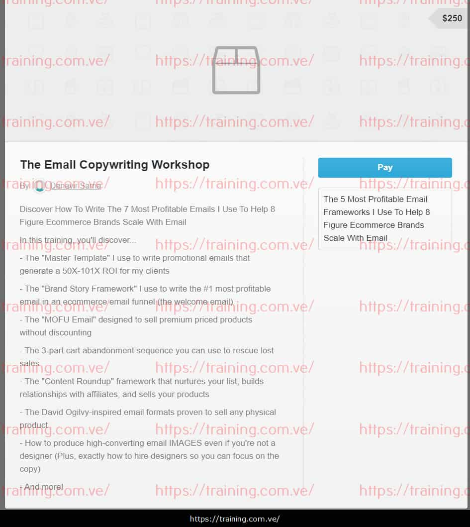 The Email Copywriting Workshop By Danavir Sarria Buy