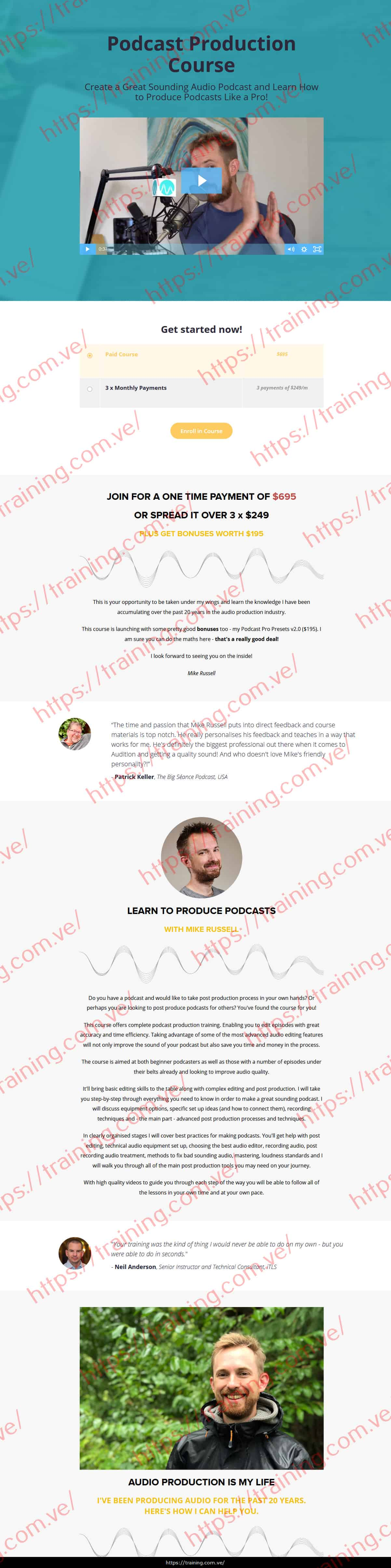 Podcast Production Course by Mike Russell Sales page