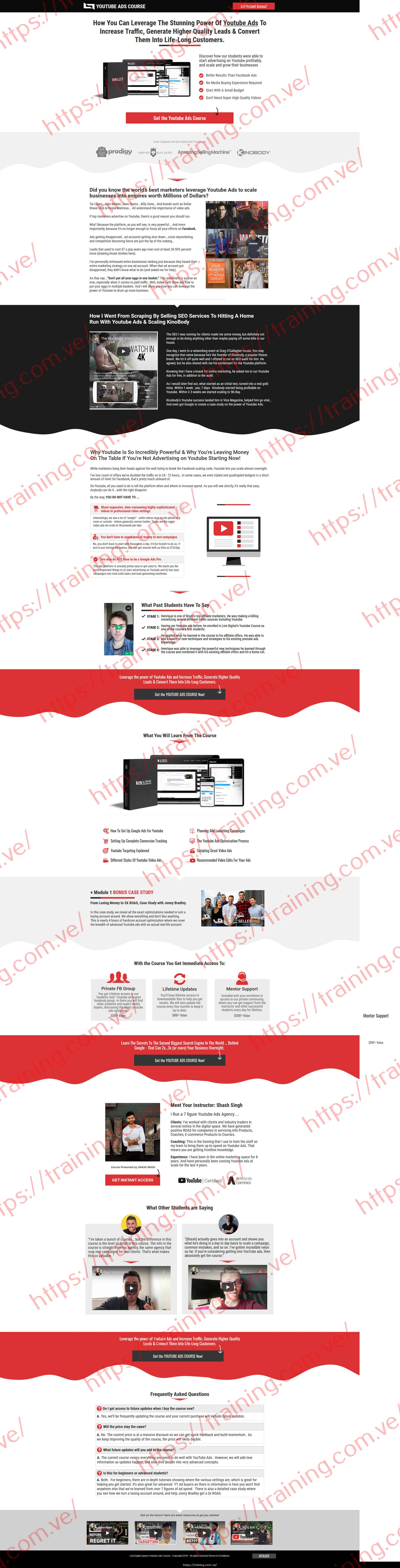 Linx YouTube Ads Course by Shash Singh Sales page