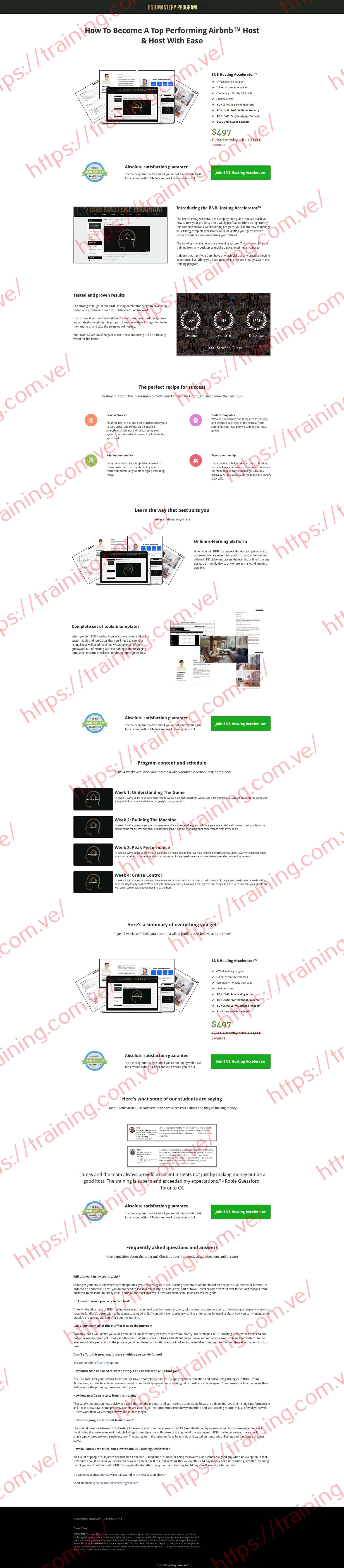 BNB Hosting Accelerator by James Svetec Sales page
