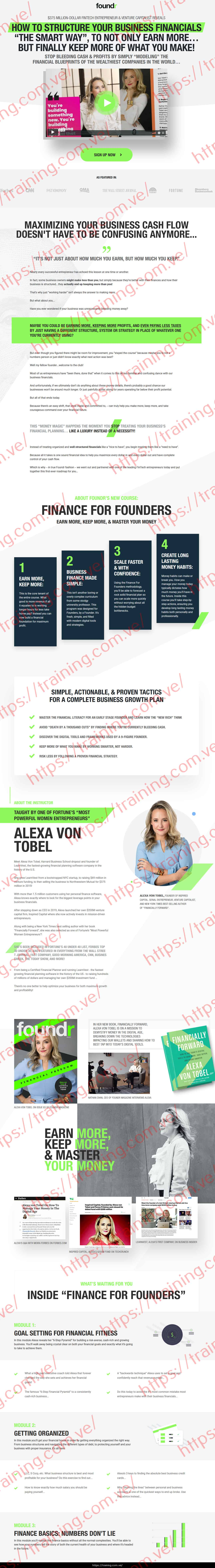 Finance For Founders by Foundr Alexa Von Tobel Sales Page