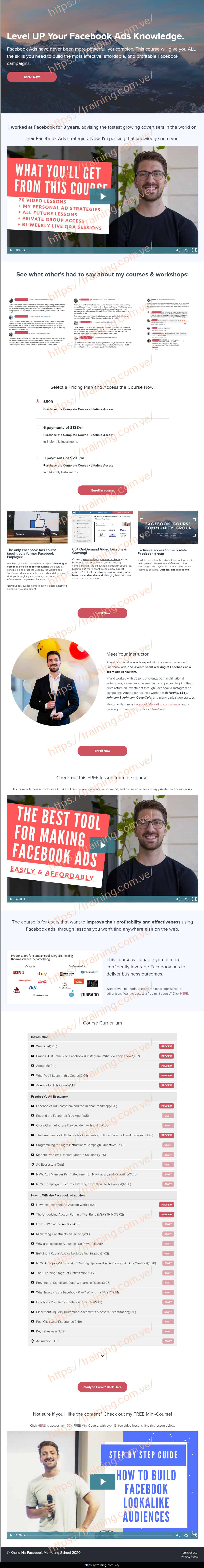 Facebook Ads Training - Lessons from a Former Facebooker by Khalid Hamadeh Sales Page