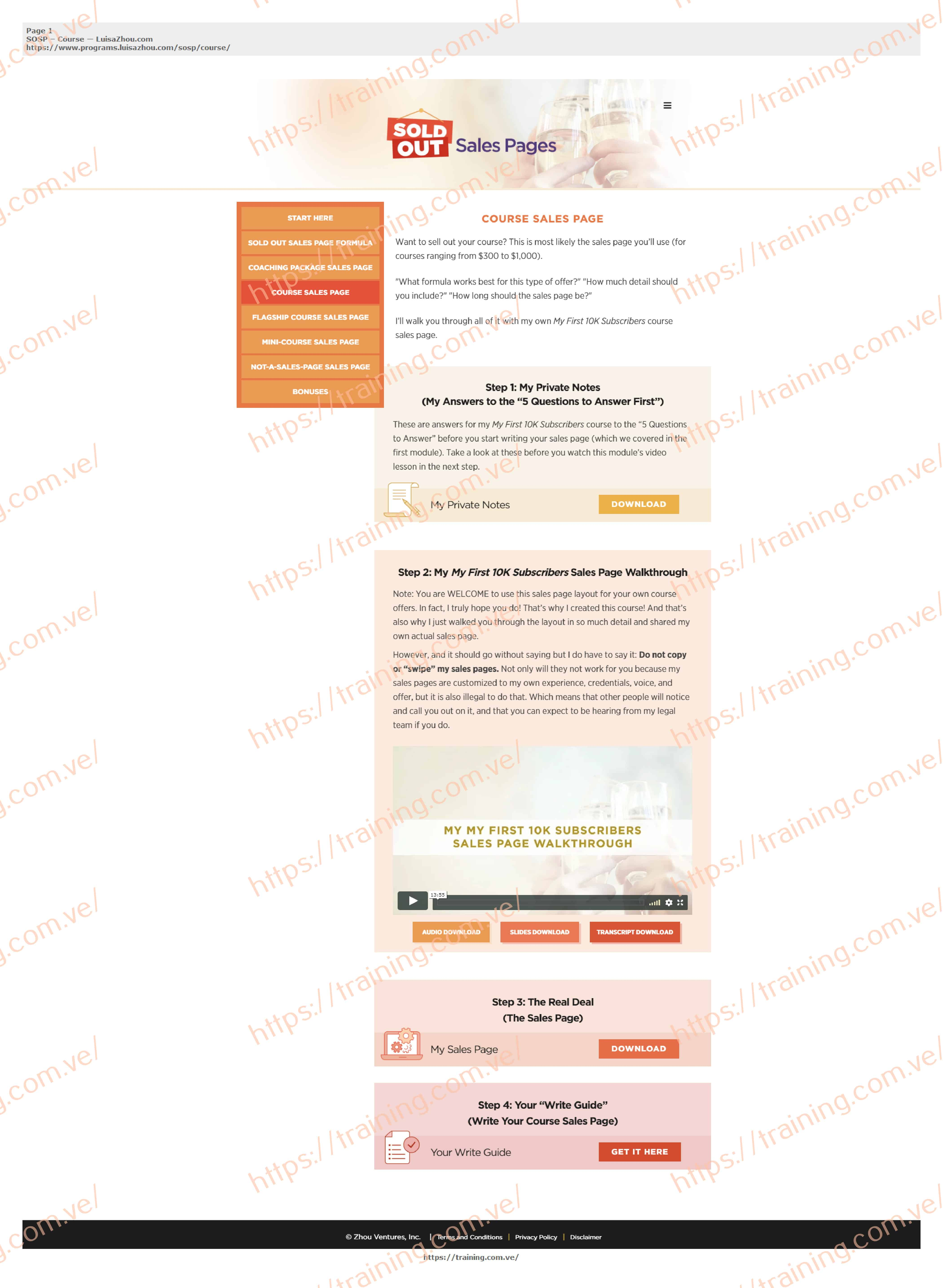 Sold Out Sales Page by Luisa Zhou Download