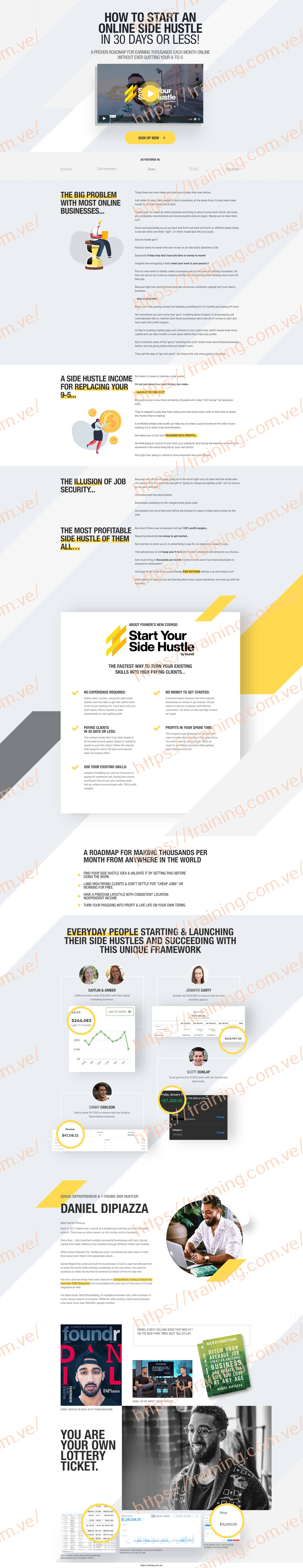 Start Your Side Hustle by Daniel DiPiazza Sale Page