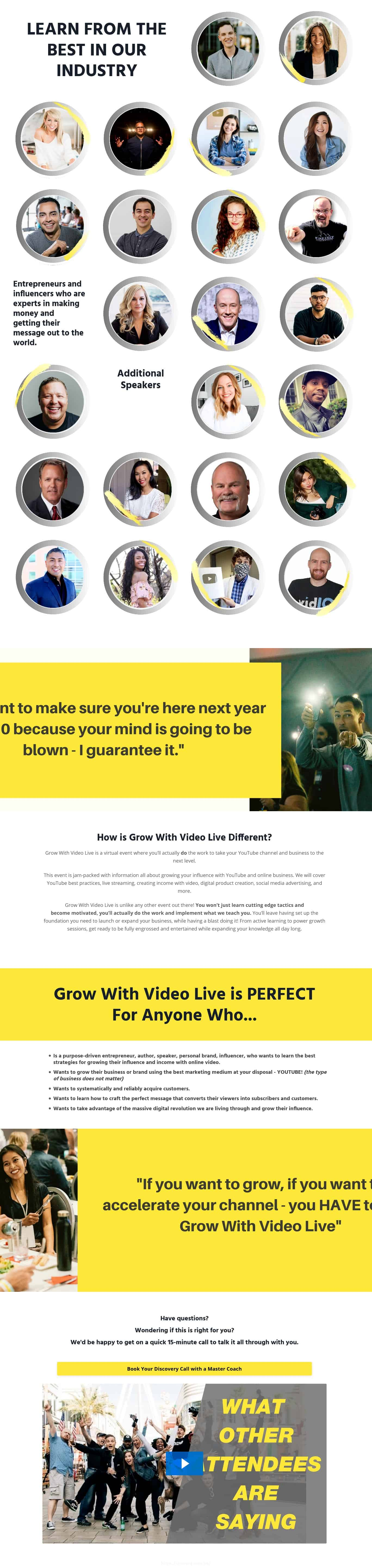 Grow With Video Live 2020 Sales Page