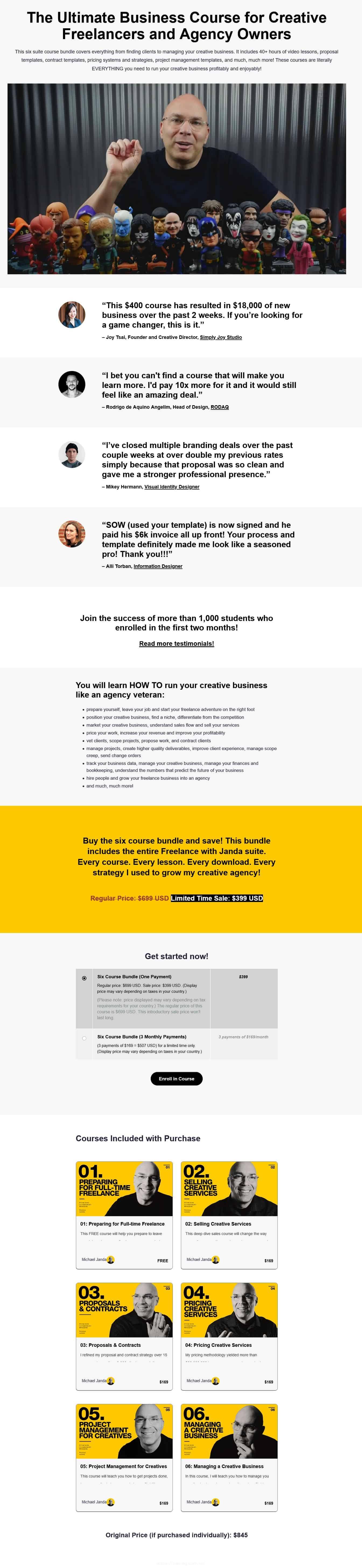 Freelance with Janda Six Course Bundle Sales Page