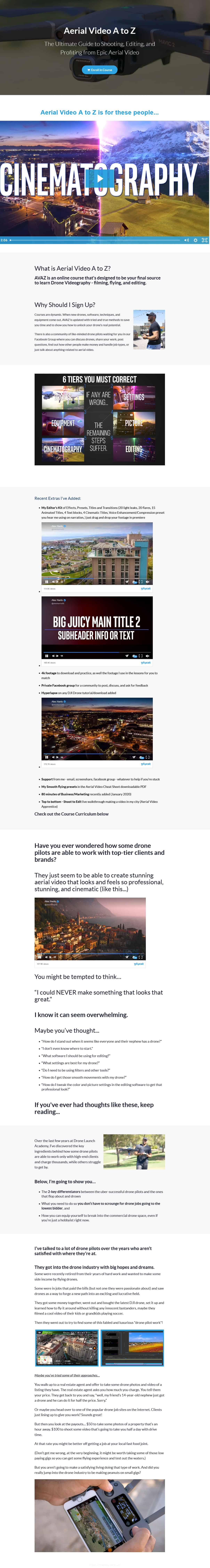 Aerial Video A to Z 2021 Sales Page
