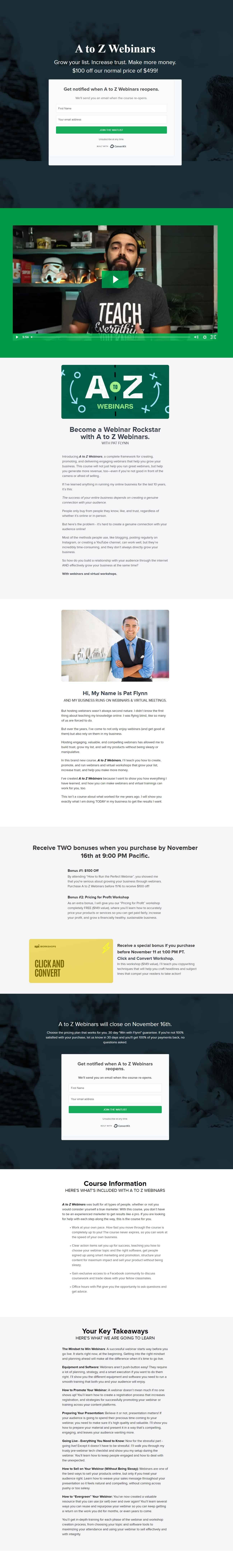 A to Z Webinars by Pat Flynn Sales Page