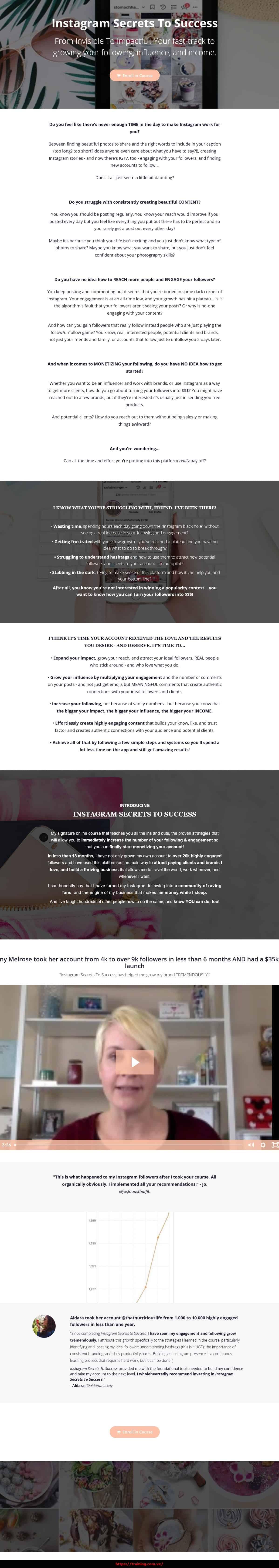 Instagram Secrets To Success by Carla Biesinger Sales Page