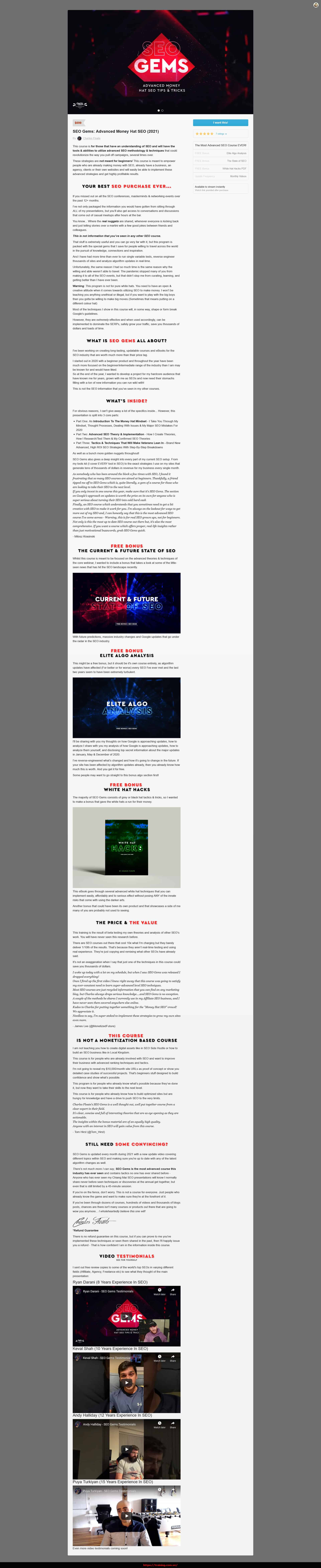 SEO Gems Advanced Money Hat SEO by Charles Floate Sales Page