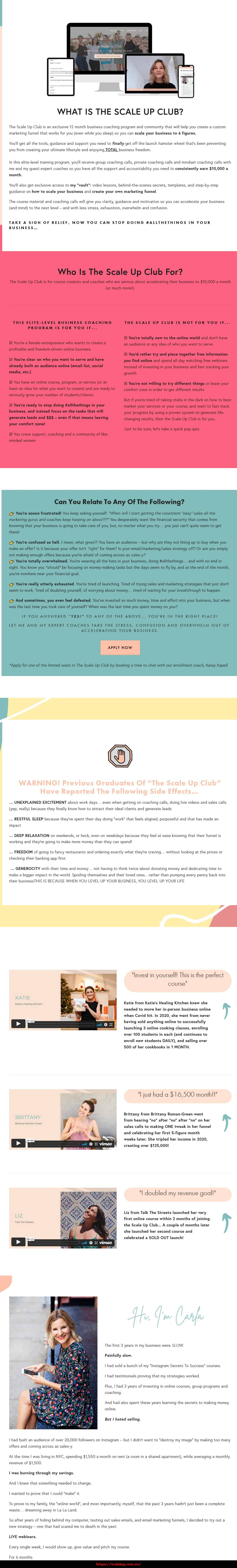 The Scale Up Club by Carla Biesinger Sales Page