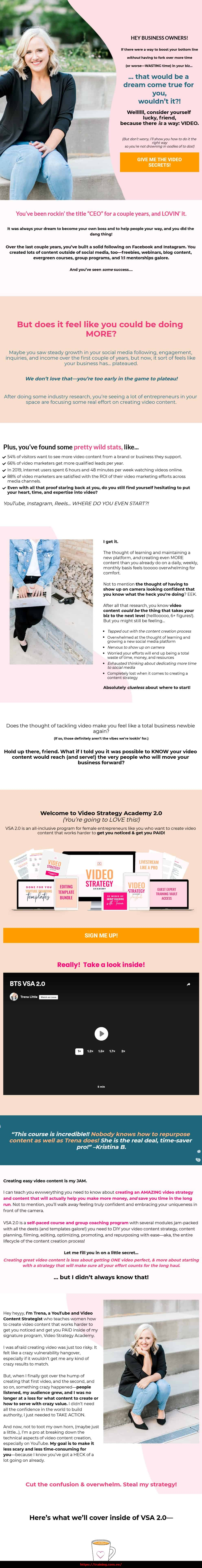 Video Strategy Academy 2.0 by Trena Little Sales Page