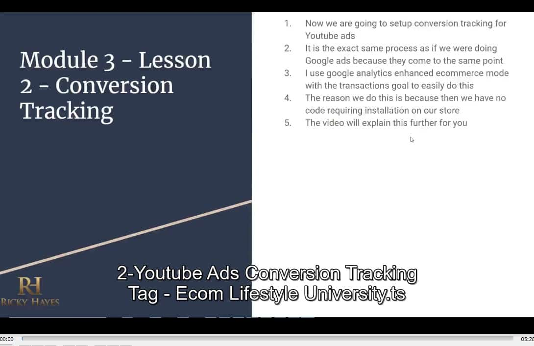Youtube Ads Ecom Blueprint by Ricky Hayes buy