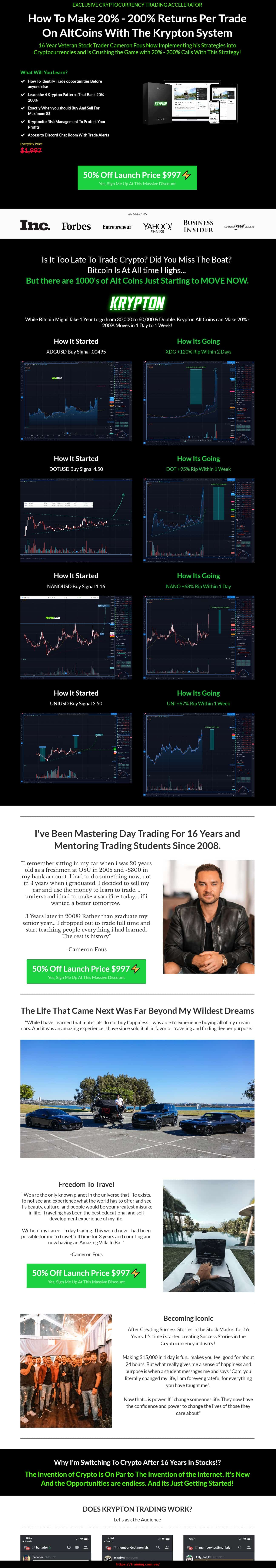 Krypton Training by Cameron Fous sales page