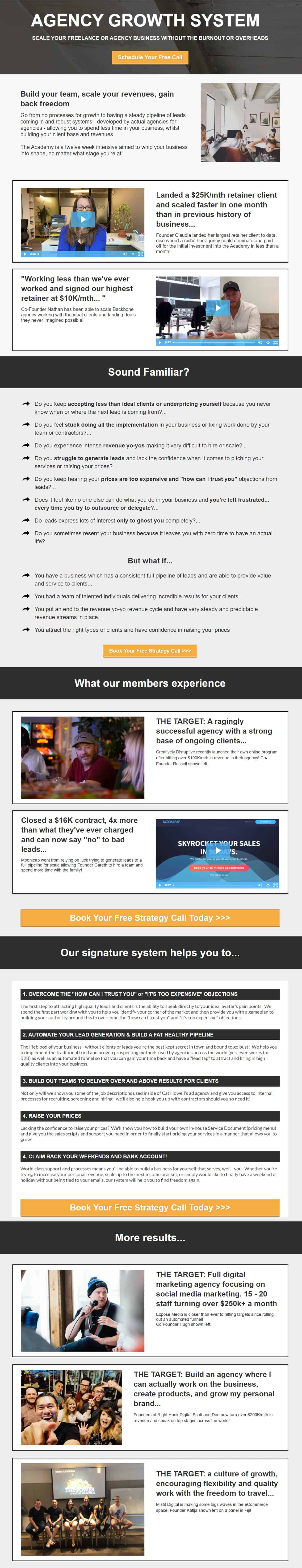 Sales page The Academy 2.0 Mastermind 2021 from Cat Howell Facebook Agency Course