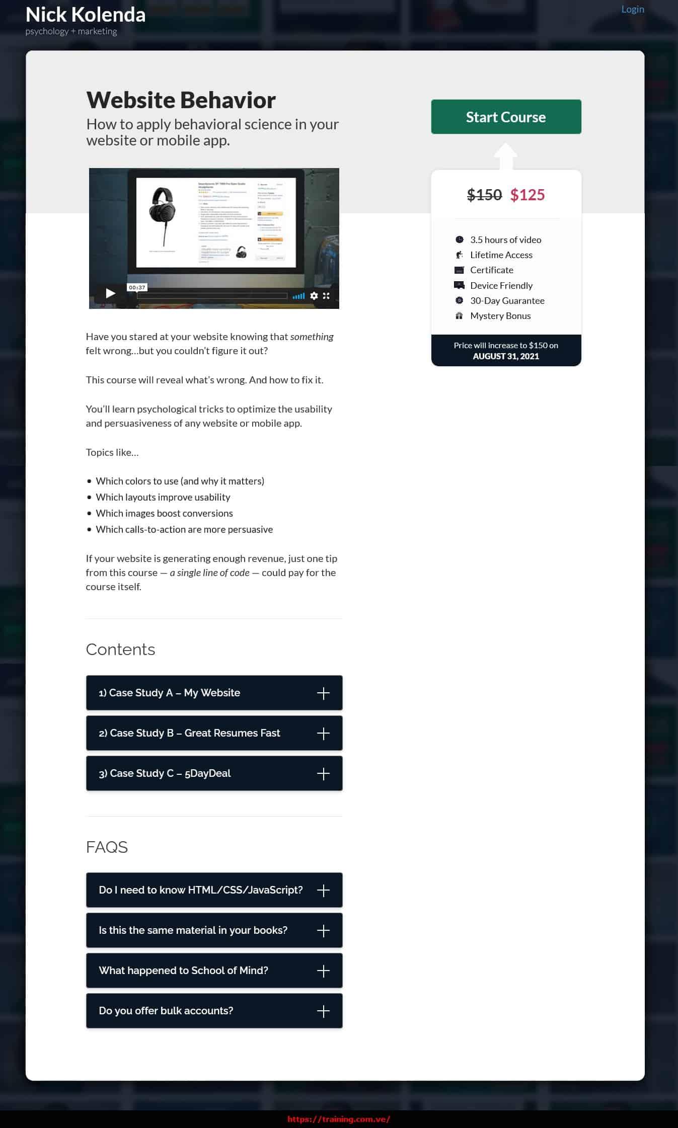 Website Behavior by Nick Kolenda sales page