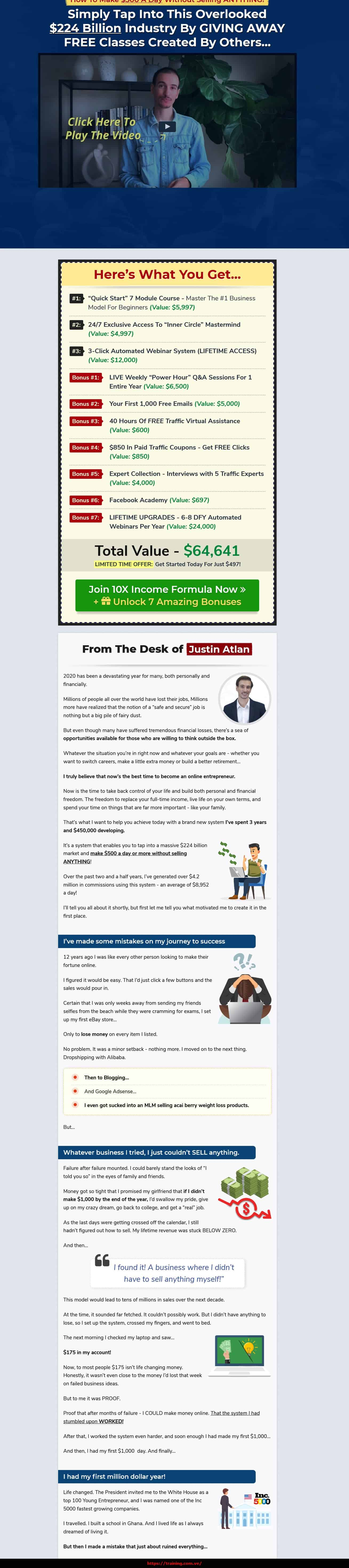 10X Income Formula by Justin Atlan sales page