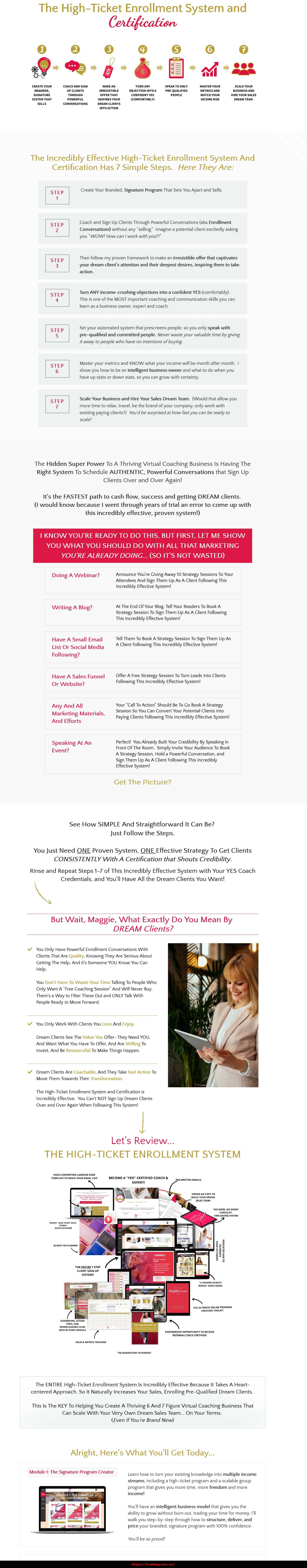 The High-Ticket Enrollment System by Maggie Chu sales page