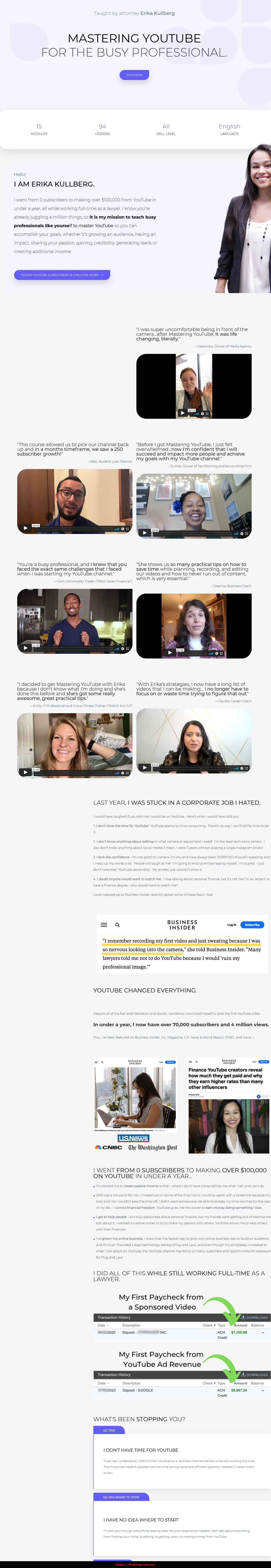 Mastering YouTube for the Busy Professional by Erika Kullberg sales page