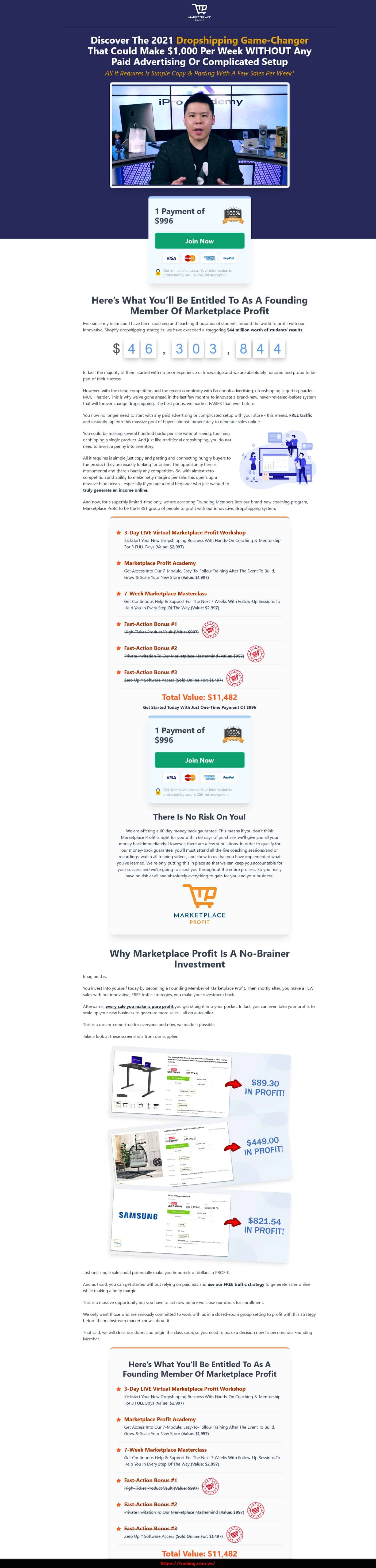 Marketplace Profit Academy by Fred Lam sales page