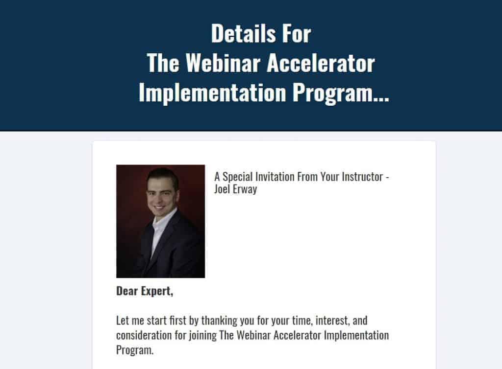 Webinar Accelerator Implementation Program by Joel Erway
