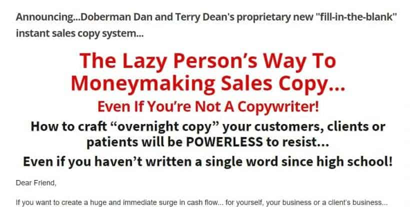 60 Minute Copy Cure By Doberman Dan and Terry Dean