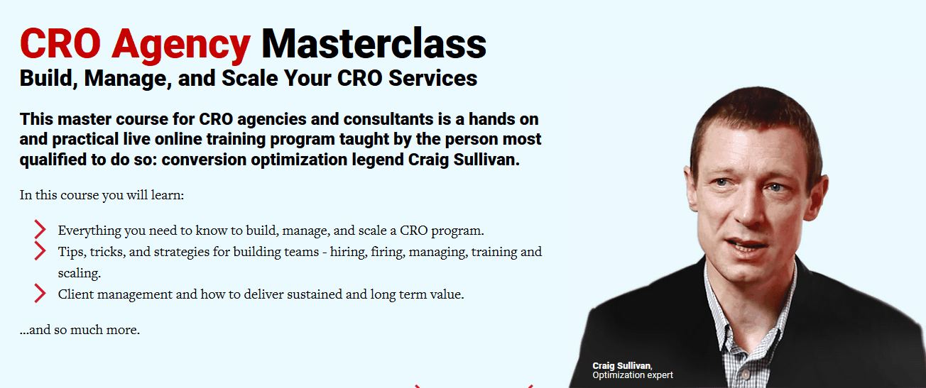 CRO Agency Masterclass By conversionxl and Craig Sullivan