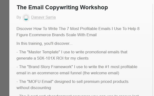 The Email Copywriting Workshop By Danavir Sarria