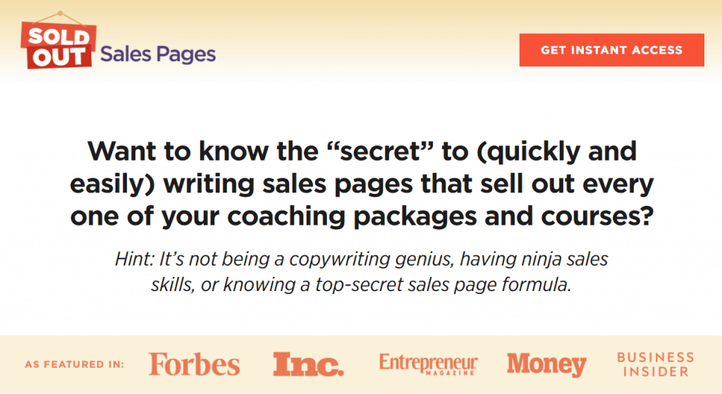 Sold Out Sales Page by Luisa Zhou